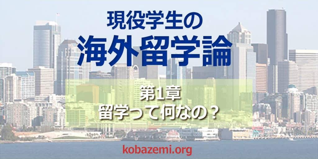 現役大学生の海外留学論:第1章 海外留学って何なの?| 留学支援 kobazemi.org